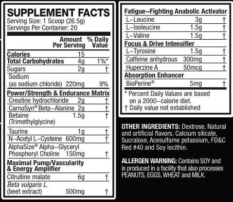 Image result for pre jym ingredients